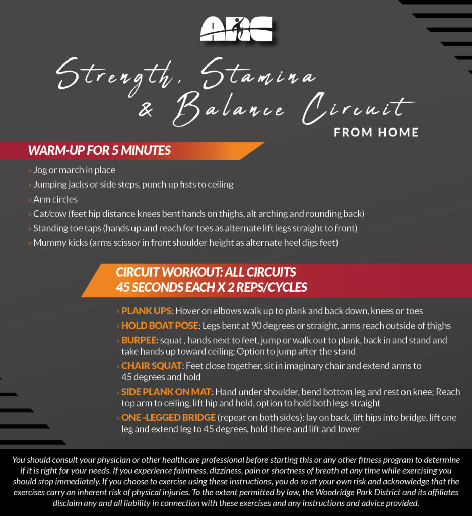 Workout From Home - Strength, Stamina & Balance Circuit
